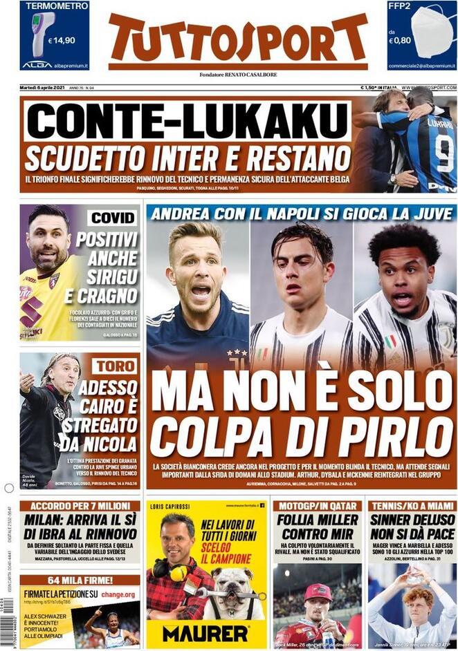 TuttoSport, la prima pagina del 6 aprile 2021
