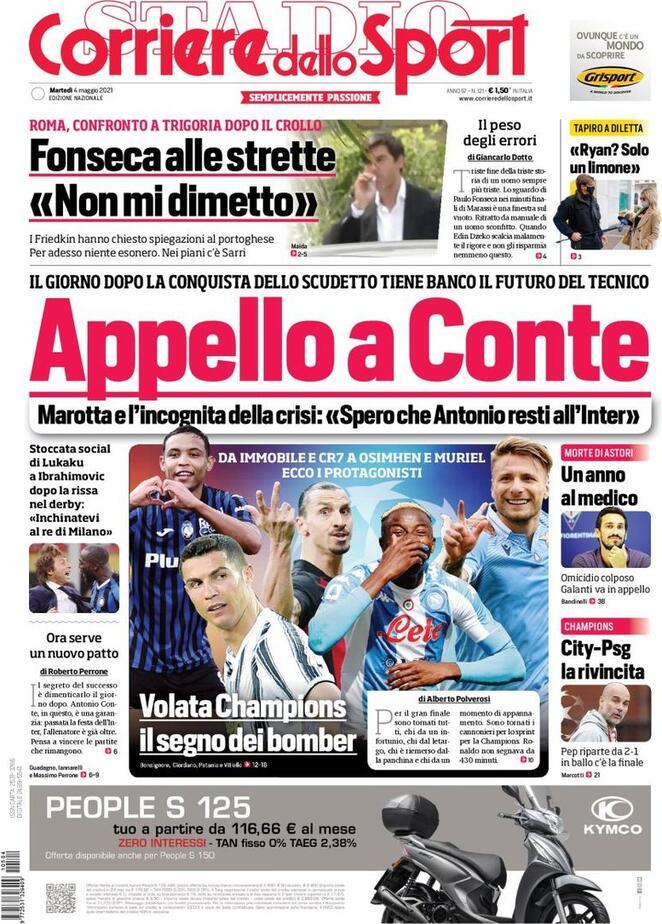 Corriere dello Sport, la prima pagina del 4 maggio 2021