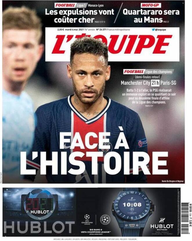 L'Equipe, la prima pagina di oggi 4 maggio 2021