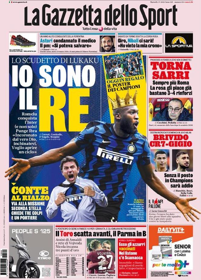La Gazzetta dello Sport, la prima pagina di oggi 4 maggio