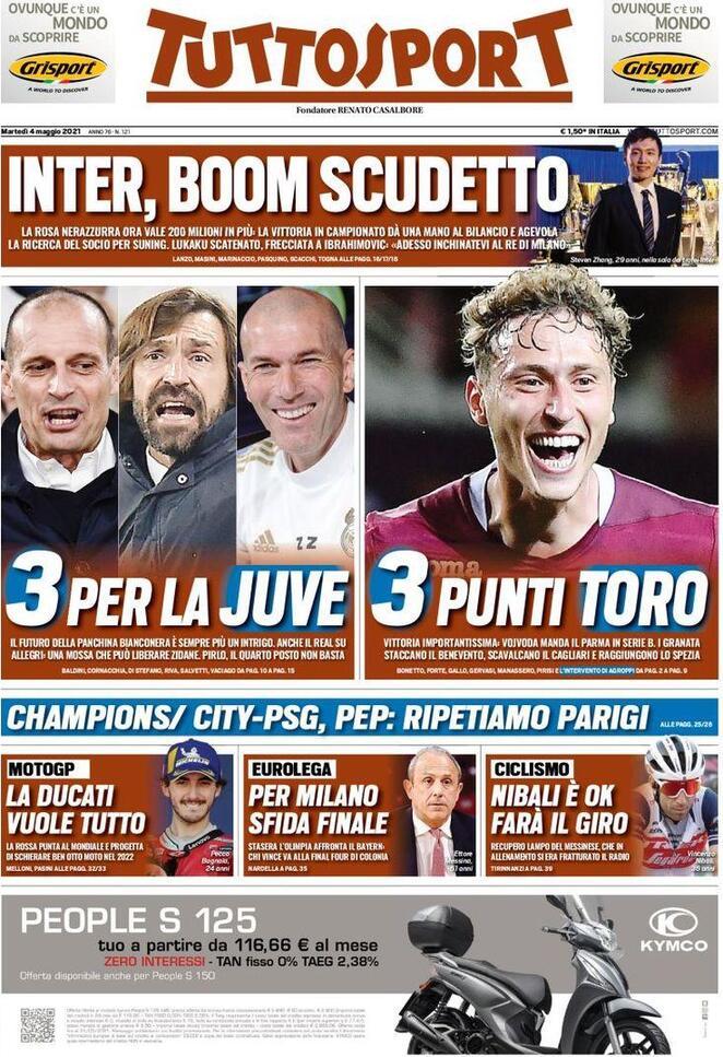 TuttoSport, la prima pagina di oggi 4 maggio 2021