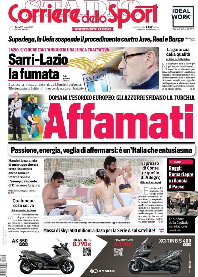 Corriere dello Sport, la prima pagina di oggi 10 giugno