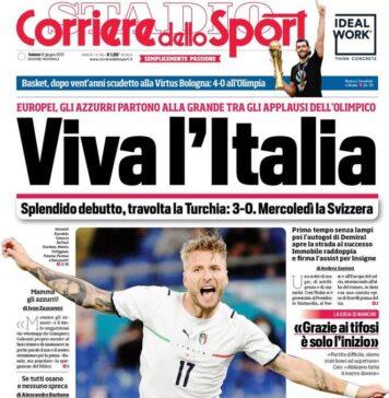 Corriere dello Sport, la prima pagina di oggi 12 giugno