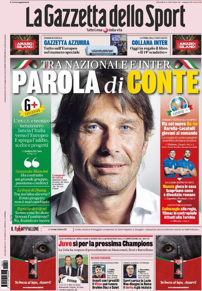 La Gazzetta dello Sport, la prima pagina di oggi 10 giugno