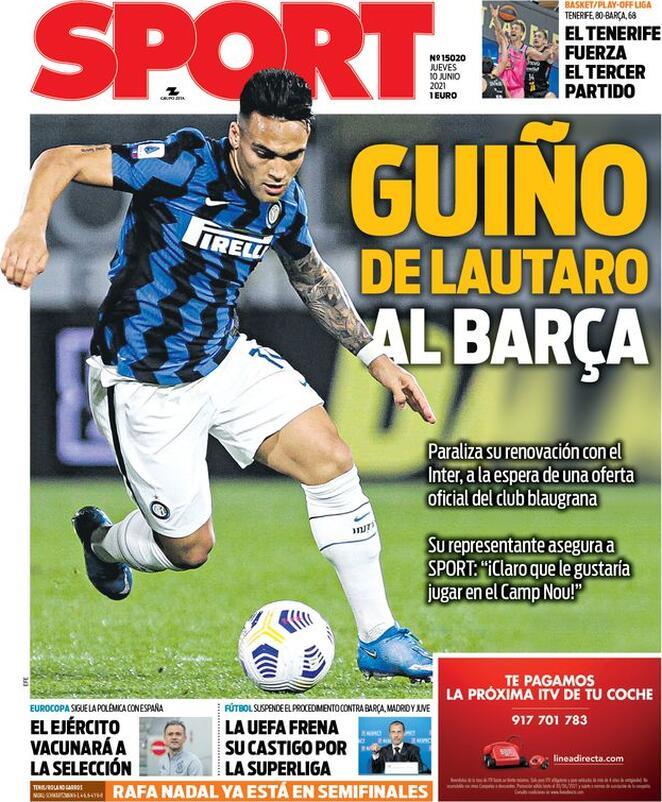 Sport, la prima pagina di oggi 10 giugno 2021
