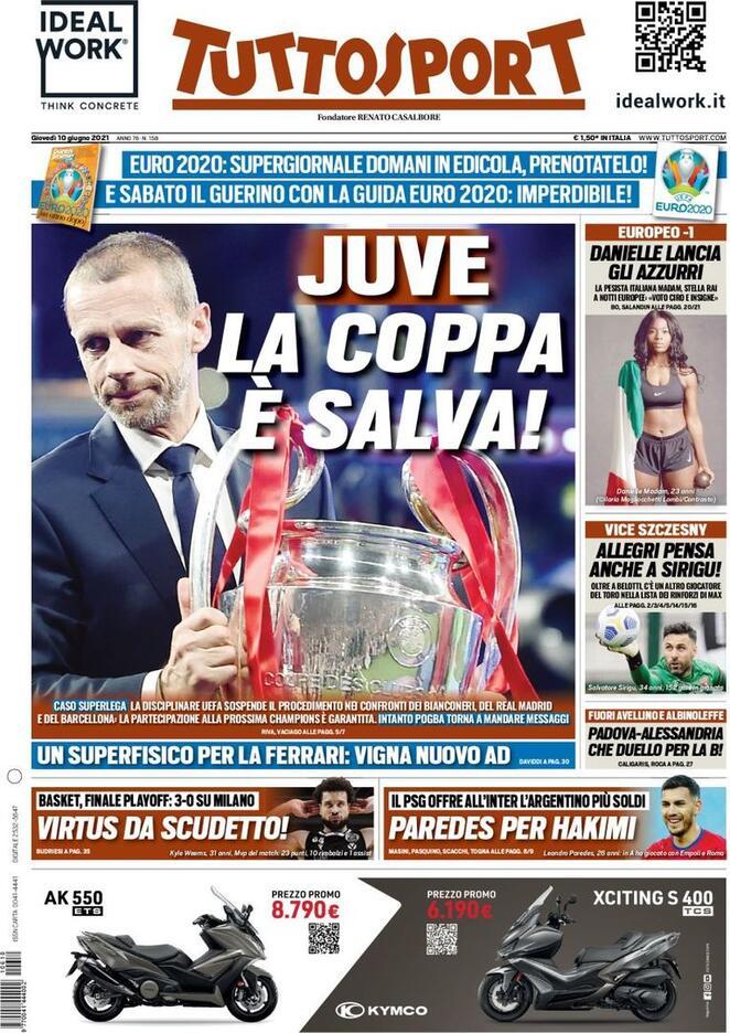 TuttoSport, la prima pagina di oggi 10 giugno 2021
