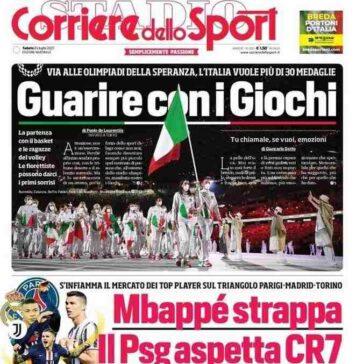 Corriere dello Sport, prima pagina sabato 24 luglio 2021