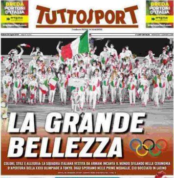 Tuttosport, la prima pagina di sabato 24 luglio 2021