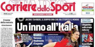 Corriere dello Sport, la prima pagina di oggi 3 agosto