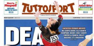 TuttoSport, la prima pagina di oggi 3 agosto 2021