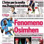 Corriere dello Sport, la prima pagina del 28 settembre