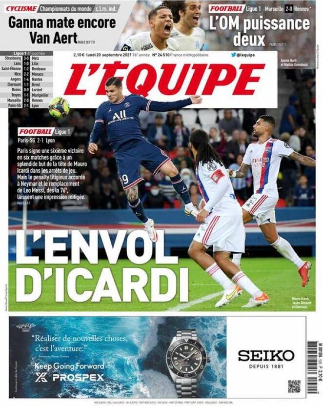 L'Equipe, la prima pagina di oggi 20 settembre 2021