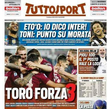 TuttoSport, la prima pagina di oggi 23 ottobre 2021