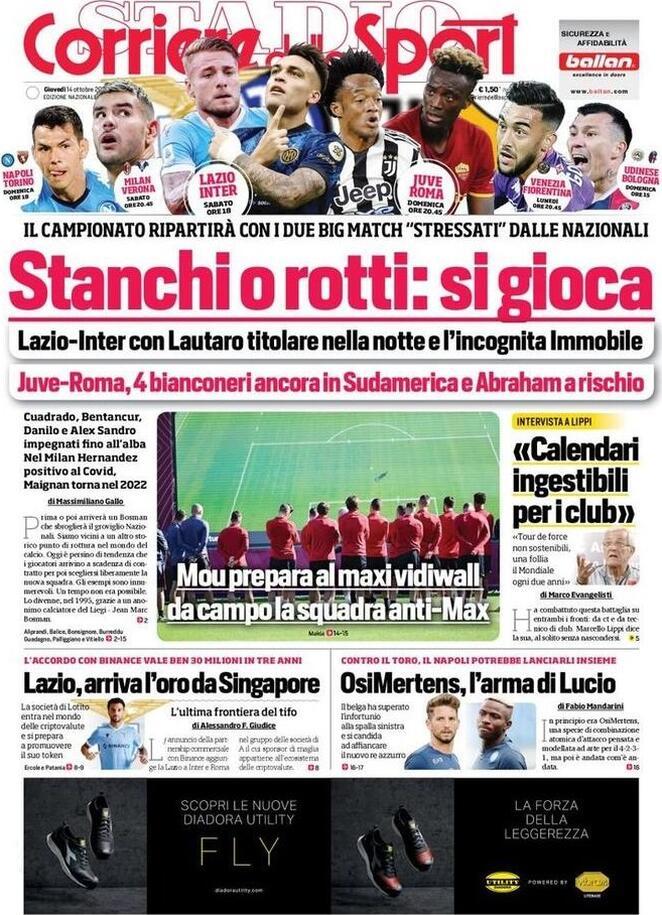 Corriere dello Sport, la prima pagina di oggi 14 ottobre