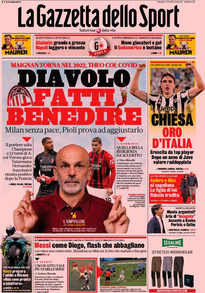 La Gazzetta dello Sport, la prima pagina di oggi 14 ottobre
