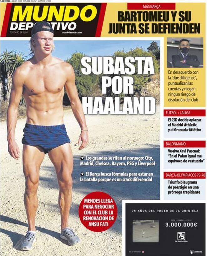 Mundo Deportivo, la prima pagina di oggi 14 ottobre