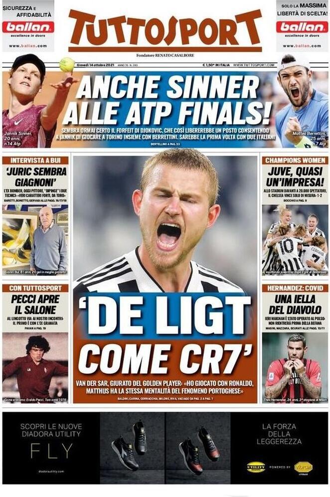TuttoSport, la prima pagina di oggi 14 ottobre 2021